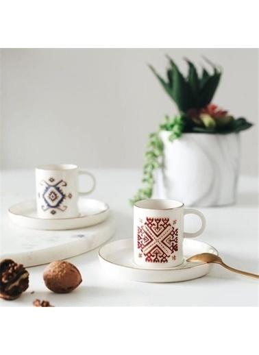 Porland Porland Arabesque Kahve Seti 4 Parça Renkli